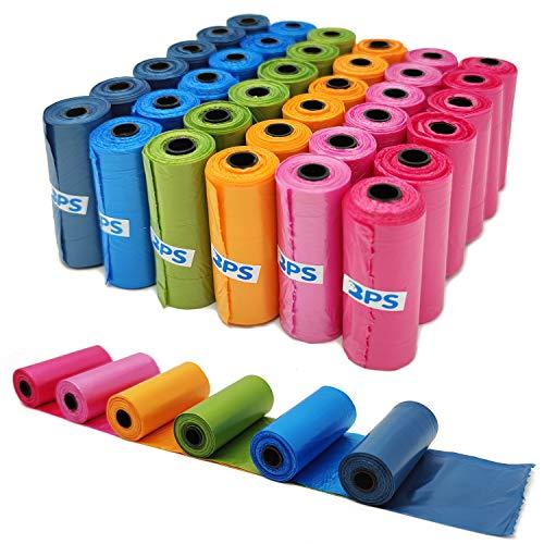 BPS 540 BPS-5395 Lot de 36 rouleaux de sacs à déjections canines pour animaux domestiques Multicolore