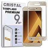 REY Protector de Pantalla Curvo para Samsung Galaxy A5 2017, Oro, Cristal Vidrio Templado Premium, 3D / 4D / 5D