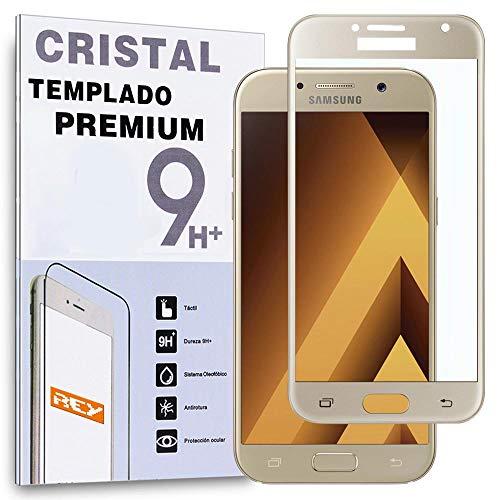 REY Protector de Pantalla Curvo para Samsung Galaxy A5 2017, Oro, Cristal...