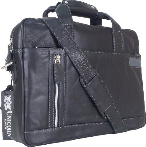 Unicorn Vera Pelle Fino 16,4 Pollici Borsa del Computer Portatile Netbook Ultrabook Borsa Nero Messenger Bag #8E