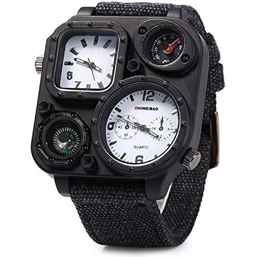LYN&xxx Sport-Uhr-Militäruhren und wasserdichte beiläufige Uhr Thermometer Kompass mit Anzeige zweier Zeitzone - Schwarz,Weiß