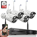 【Dual Antennas Wireless Enhanced】 2K 3.0MP Wireless Security Camera System, Surveillance NVR Kits with 1TB Hard Drive, 4Pcs HD WiFi Security Cameras,AI Detection with Audio