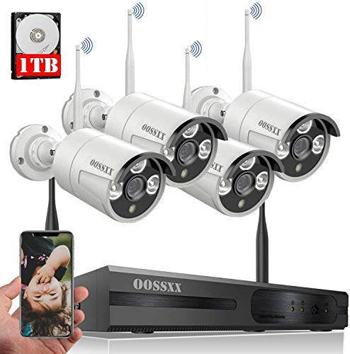 Wireless Security Camera System, Surveillance NVR Kits with 1TB Hard Drive, 8CH 4Pcs 2K 3.0MP WiFi Security Cameras, AI Detection, One-Way Audio, Waterproof, Night Vision