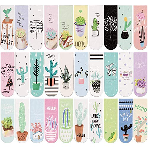 AIEX 30 Pieces Magnetic Bookmarks Plant Theme Magnet Page Markers Clips for Student Stationery Reading Office Accessories
