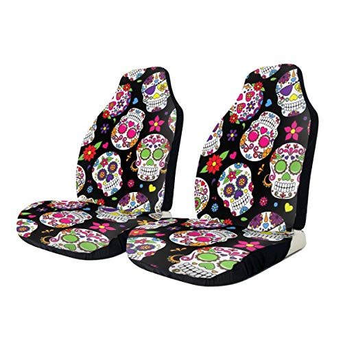 Tianheyue Sugar Skull and Flower Car Seat Cover Front Seats Full Set of 2 Vehicle Seat Protector Fit Cars, Sedan, Truck, SUV, Van