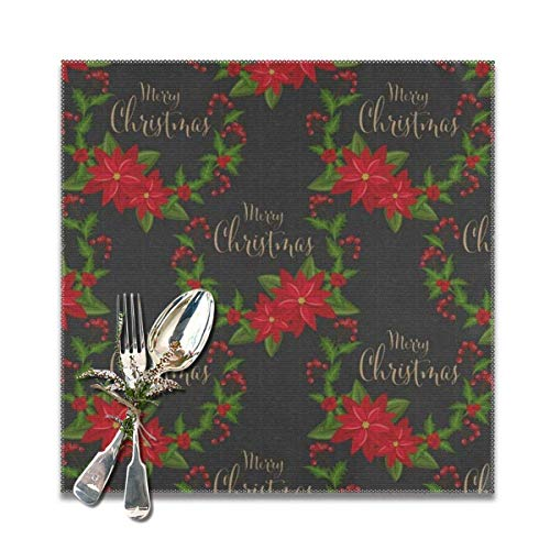 The reusable Poinsettia Flower, Holly Leaf, Red Berry, Candy Cane, Green Pine & Spruce Twig Placemats For Dining Table Set of 6. Heat Resistant Table Mat Washable Non Slip ,Perfect for everyday use,