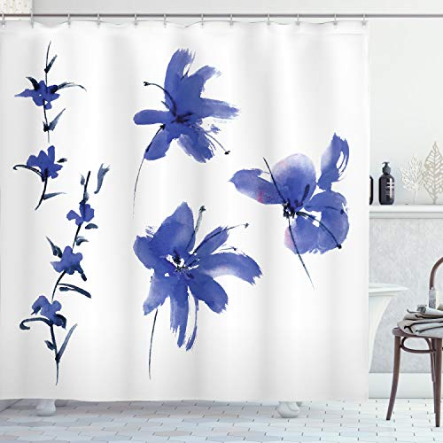 Ambesonne Traditional Shower Curtain, Oriental Watercolor Inspired Plum Blossom Petals Eastern Artwork Print, Cloth Fabric Bathroom Decor Set with Hooks, 75' Long, Dark Violet