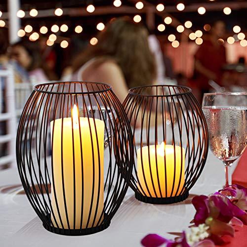 LIBWYS 2 Stück KerzenständerMetall Oval Kerzenhalter KerzenleuchterKreativ Vintage Kerzen Ständer für Weihnachten,Hochzeit, Wohnzimmer TischdekoOval Korb Halter, Schwarz,14 x 17cm, 17 x 20cm