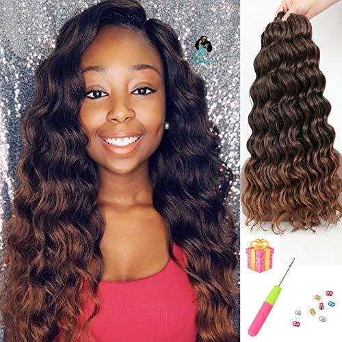 AMELI 6 Packs Ocean Wave Crochet Hair 20 Inch Ocean Wave Braids Ombre-Blonde Deep Wave Crochet Synthetic Hair Extensions(20 INCH-6 PACKS, T30)