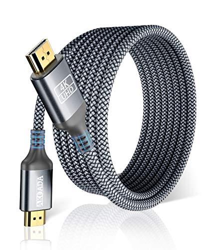 Cable HDMI 4K 2metro-AkoaDa Cable HDMI 2.0 de Alta Velocidad Trenzado de Nailon 4K@60Hz a 18Gbps Cable HDMI Compatible 3D,Función Ethernet,Video 4K UHD 2160p,HD 1080p,PS3 PS4,Xbox One 360 Switch-Gris