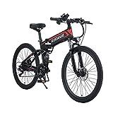 SONGZO Bicicleta de Montaña 350W 21 Velocidades Bicicleta Eléctrica Plegable de 26 Pulgadas con Doble Suspensión y Freno de Disco (R3-Spoke)
