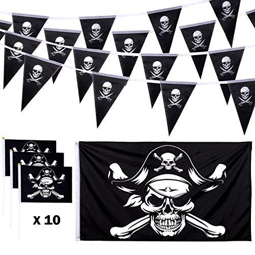 Whaline Juego de 12 Banderas de Pirata de Calavera de Halloween, 3x5 Pies Bandera de Roger Jolly, 19,7 Pies Banderines Piratas y 10 Banderines de Pirata Pequeños de Mano con Palos para Decoración