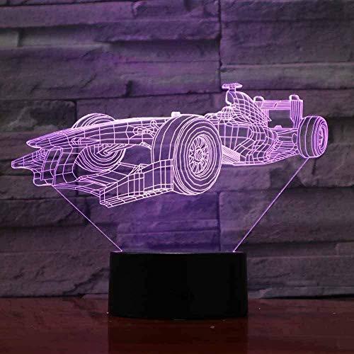 Lámpara de escritorio de ilusión óptica con diseño de coche de carreras B para dormitorio juguetes de cumpleaños niños acrílico cama de guardería regalos luz nocturna 3D