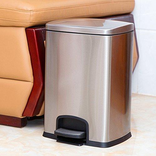 Bacs à ordures extérieurs Xiuxiutian Pied en acier inoxydable cuisine wc séjour mute 1 style 20L, poubelle