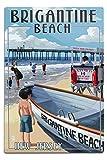 Lantern Press Brigantine Beach, New Jersey, Lifeguard Stand (12x18 Aluminum Wall Sign, Wall Decor Ready to Hang)
