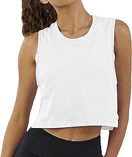 Women Summer Short-Sleeved T-Shirt Crop Top Sleeveless Racerback Workout Yoga Short Tank Top.JNINTH