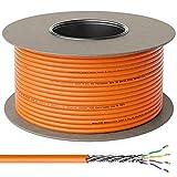deleyCON 100m Cat.7 Cable de Instalación Cobre Rígido S/FTP PIMF Cable de Red Cable de Instalación Cable LAN Cable de Ethernet Cable de Datos Gigabit CAT7 10Gbit 1000MHz LSZH Libre de Halógenos DOP