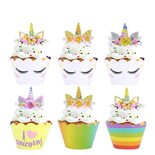 Konsait Einhorn Cupcake Toppers und Cupcake Wrappers, Unicorn Kuchen Dekoration für mädchen Kindergeburtstag, Party, Hochzeit (24 Stücke)