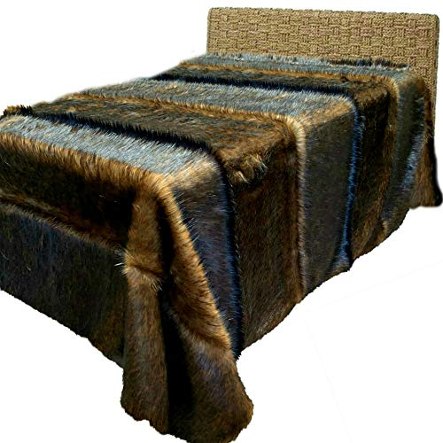 Fur Accents Exotic Pieced Fur - Dark Reddish Brown Fox - Wolf - Faux Fur Throw Blanket - Bedspread - Extreme Luxury - Cuddle Fur Lining Hand Made - USA (King Size)
