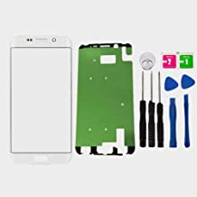 Replacement Repair Front Outer Top Glass Lens Cover Screen for Samsung Galaxy S6 Edge Plus G928F G928T G928P G928V 5.7 inch Mobile Phone Curved Surface Parts with Adhesive Tools Kit (White)