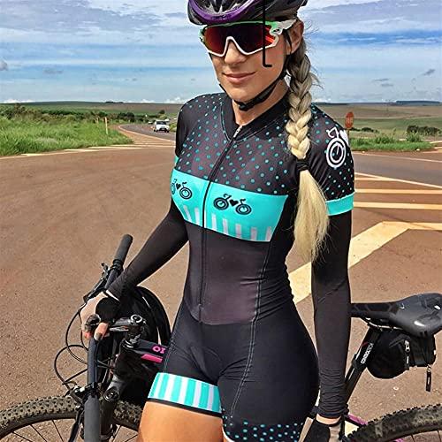 Damen Radtrikot Overall Sets Sommer Bike Skinsuit Kurzarm Triathlon Pro Team Uniform 9d Gel MTB Sportwear (Color : 5, Size : Small)