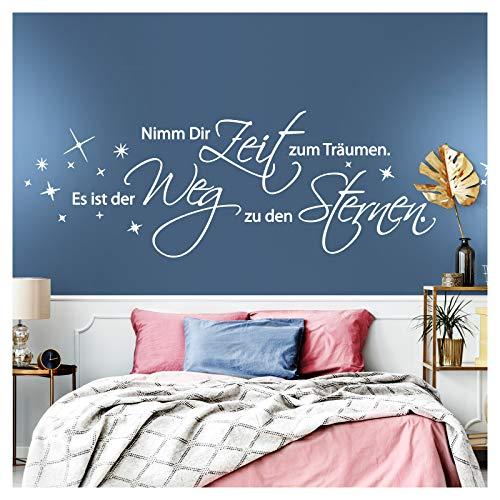 Wandaro Wandtattoo Zitat Nimm dir Zeit zum träumen I schwarz (BxH) 160 x 47 cm I Schlafzimmer Kinderzimmer Wandaufkleber Wandsticker Aufkleber Sticker W3261