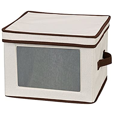 Household Essentials 536 Dinnerware Storage Box with Lid and Handles | Storage Bin for Dinner Plates | Natural Canvas with Brown Trim