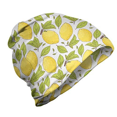 ABAKUHAUS Citroen Unisex Muts, Limonade Fruit Bladeren Doodle, voor Buiten Wandelen, Groen en Mosterd