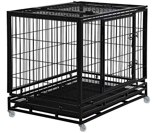 Dog Crate Dog Cage Dog Kennel for Large Dogs Heavy Duty 42 Inches Pet Playpen for Training Indoor Outdoor with Plastic Tray Double Doors & Locks Design