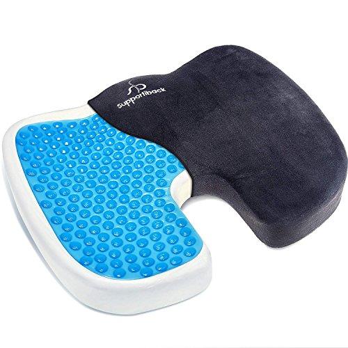 Cojín terapéutico ortopédico de gel para sentarse. Cojín ergonómico de espuma de memoria para alivio de coxis, espalda inferior y ciática. Portátil, para la oficina, casa, coche, silla de ruedas