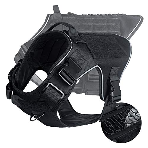VICARKO Tactical Dog Harness, Tactical Dog Vest, No Pull Harness, Reflective, Waterproof, MOLLE System, for Walking, Traning, Military, Black, Medium Size, 55-70 lbs