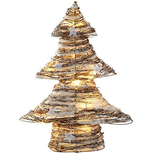 �rbol de Navidad de ratán con luces LED blanco cálido y estrellas
