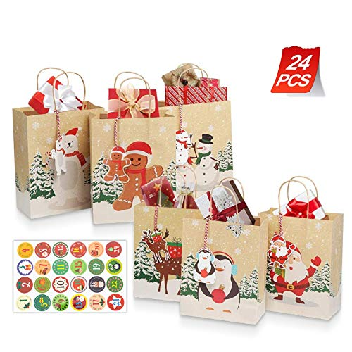Yucch24 bolsas de regalo de Navidad con 24 etiquetas de regalo de Navidad y pegatinas de calendario de Adviento cajas de Usado para decoración de fiestas de Navidad suministros