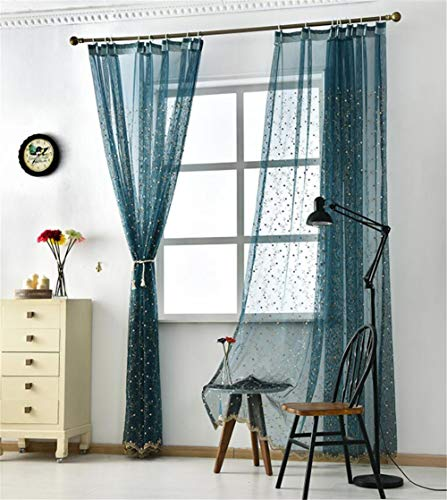 fgdsa Embroidered Semi Sheer Curtains,Blackout Sheer Curtains Pencil Pleat,Bedroom Privacy Voile Curtain Panel A 150x270cm(59x106inch)