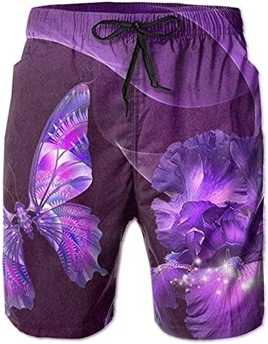 Shorts De Playa Transpirables para Hombre Bañador Shorts Purple Butterfly and Irises De Secado Rápido Adecuado para Surf De Verano Y Junto A La Piscina-XL