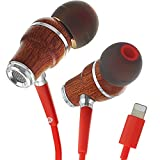 Symphonized NRG MFI Earbuds, Certified Lightning Earbuds Compatible with Apple iPhone/iPad/iPod, Premium Genuine Bubinga Wood in-Ear Noise Isolating Earphones, Stereo Wired Headphones (Red)