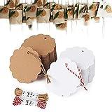 Etiquetas Kraft, 300 Piezas Etiqueta Regalo de Papel, Etiquetas Colgantes Carton, Handmade Tags Etiquetas, Tarjetas Vintage con 20 Metros de Cuerda para Tienda Bodas Cumpleaños y Navidad