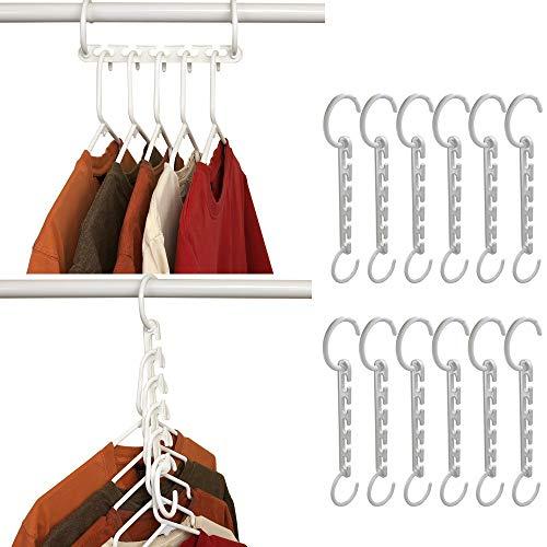 DHLP 12 Pcs Magic Hangers Coat Hangers Space Saving Clothes Hangers Storage Hangers Wonder Hanger Organizer Smart Closet Space Saver with Sturdy Plastic for Heavy Clothes (White)