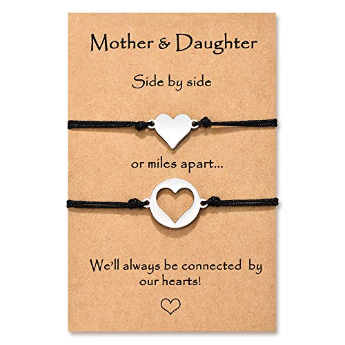 Wilacia Mother Mum Daughter Bracelets for 2 Mummy and Daughter Heart Matching Wish Bracelets Daughter Gifts from Mum