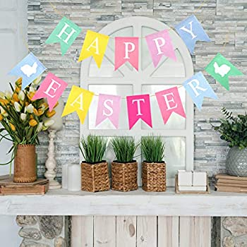 Tuparka 2-Piece Colorful Happy Easter Banners