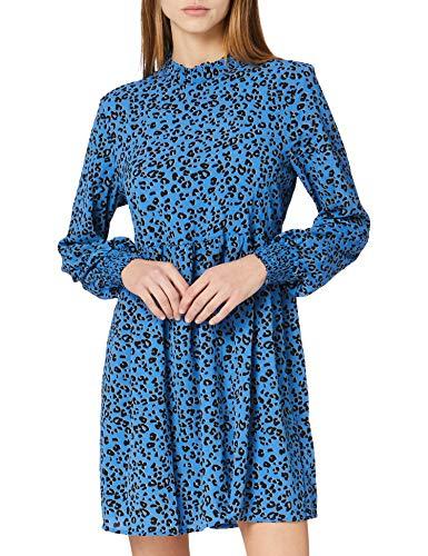 JdY Damen JDYPIPER L/S Short Dress WVN NOOS Kleid, Blue Iolite/AOP:Silver Mink & Black Leo, 38