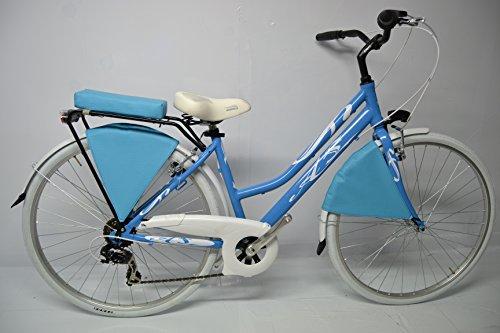 Bici Trekking Bicicletta City Bike 28 Donna Alluminio 6v Shimano Celeste Bianca Personalizzabile