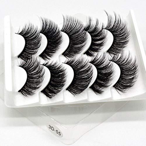 KADIS 5 Pairs Natural False Eyelashes Fake Lashes Long Makeup 3D Lashes Eyelash Extension Eyelashes for Beauty,3D-55