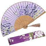 OMyTea - Abanicos de seda plegables con marco de bambú – con una funda de tela de protección para regalar – 100% hechos a mano estilo...