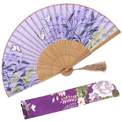 OMyTea - Abanicos de seda plegables con marco de bambú – con una fu