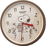 SNOOPY (スヌーピー) 掛け時計 キャラクター アナログ M06 連続秒針 茶 (木目調) リズム(RHYTHM) 8MGA40-M06
