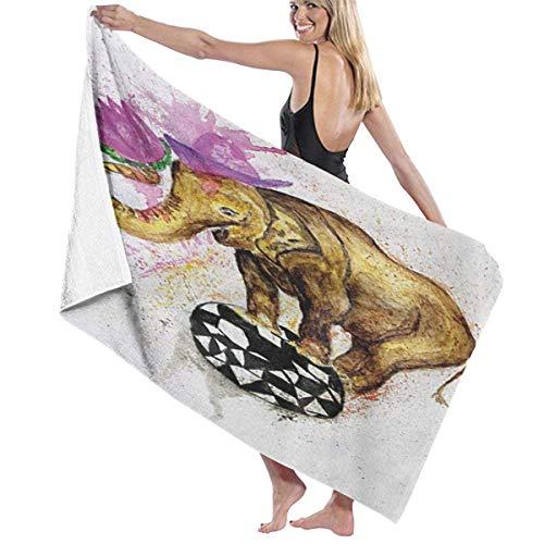 Toallas de playa 80 x 130 cm, diseño de elefante gigante en bola minimalista con flores de acuarela toallas de baño toalla de viaje