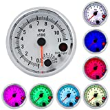 ECCPP Tachometer Gauge 3.75inch 95mm Universal Electronic Gauge Smoke Tint Len Digital Readout 0-11000 RPM Suitable for Most Cars and Motors 7 Colors LED Shift Light White Cover