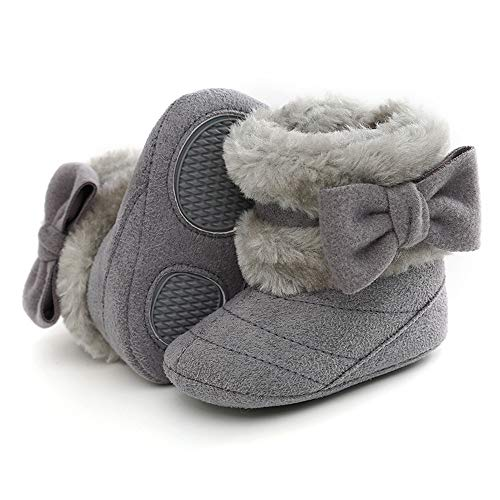 TIMATEGO Infant Baby Boys Girls Snow Boots Non Slip Soft Sole Toddler First Walker Crib Warm Winter Shoes 3-18 Months, Baby Girl Boots 3-6 Months Infant, 06 Grey