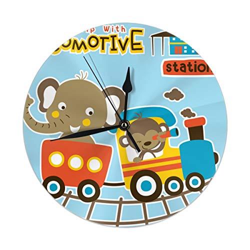 Vacaciones de dibujos animados de animales con reloj de decoración para el hogar del tren, arte de pared grande decorativo para cocina, sala de estar, habitación de niños y decoración de café (9.84 pu